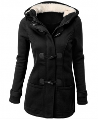 Winter warm coats women wool slim wool coat woman jacket black s