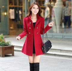 women's ladies warm korean long coat winter jacket trench overcoat outwear red xl