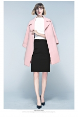 New women's leisure office formal lady's coat. pink S