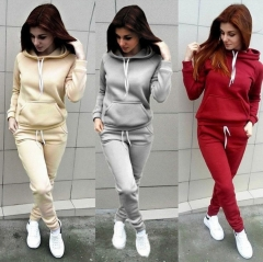 women hoodies sports tops pants tracksuit sweatshirt sweat suit jogging set USA black l