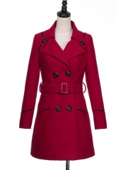 fashion new autumn winter women coat woolen jacket lapel double breasts long coat light tan m