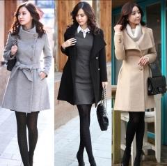 lady girls fashion korean style slim winter noble long trench coat black m