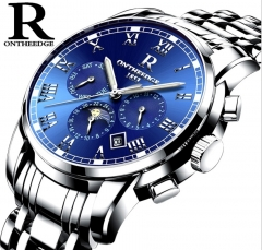 R brand watch men's automatic mechanical watch strap hollow fashion watch luminous waterproof blue onesize