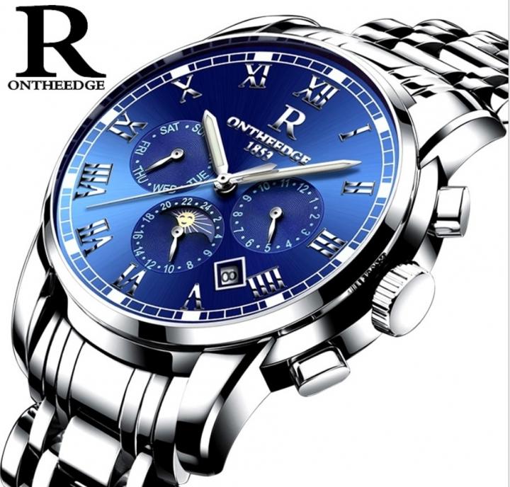 R brand watch men's automatic mechanical watch strap hollow fashion watch luminous waterproof blue onesize