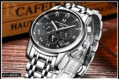 R brand watch men's automatic mechanical watch strap hollow fashion watch luminous waterproof black onesize