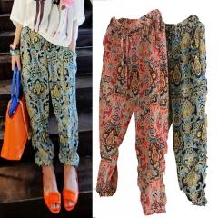 Fashion Women Casual Comfortable Chiffon Loose Wide Printing Long HaremPants Trousers Yoga orange one size