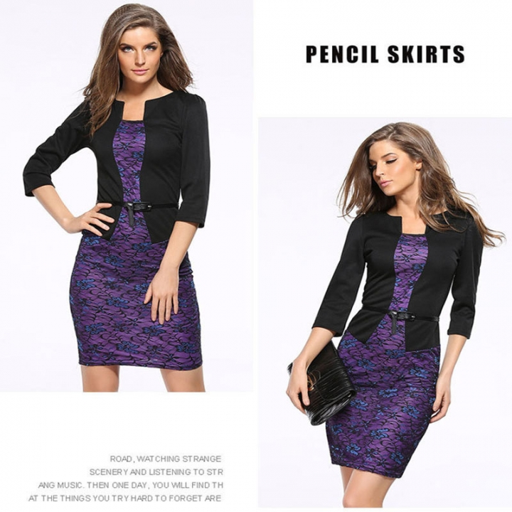 Women New False two Pieces Suit Waist Belt Long Sleeve Pencil Slim Dress  Skirt s purple f8e453b05b63