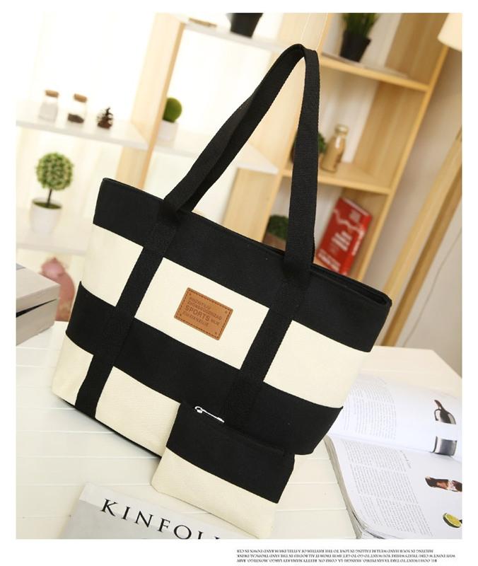 7c02b92c024d New Women Big Capacity Fashion Canvas Patch Color Zipper Shoulder Bag  Handbag. black one size