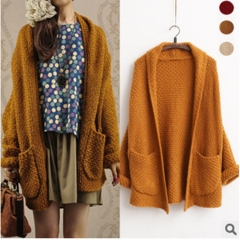 Women Spring Autumn Winter Open Stitch Curled Sleeve Batwing Knitted Oversized Long Cardigan. coffee one size