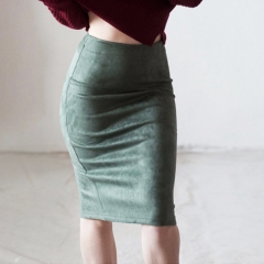 Women Suede Solid Color Pencil Auntum Winter High Waist Bodycon Vintage Split Thick Stretchy Skirts. white s