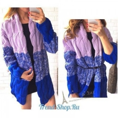Women Autum Winter Long Sleeve Fashion Knitted Coat Gradient Color Cardigan Sweater  Jacket. royal blue one size