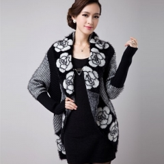 Women Korean Fashion Autum Winter New Long Sleeve Mohair Sweater Cardigan Coat. white one size