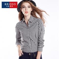 Women Girls Fashion Cotton Button Up Match Color Long Sleeve Plaid Lapel Shirts Blouse Tops. 1 s