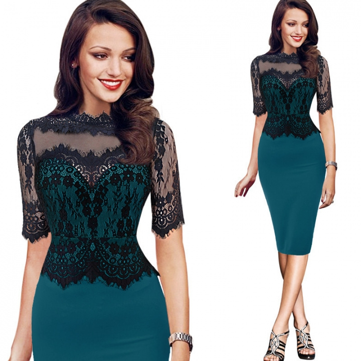 Women New Fashion Lace Patch Work Stand Collar Sexy Belt OL Office Slim  Pencil Bodycon Dress f069d0d22ad3d