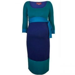 Blue-green Maternity Dress Blue-green 16