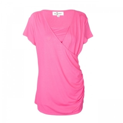 Pink Cotton Nursing Top With Side Gathers pink 12