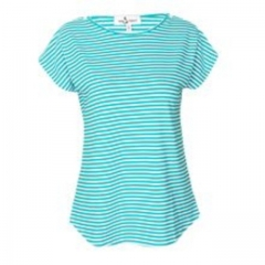 Green-White Striped Cotton Maternity /  Nursing Top Green-white l