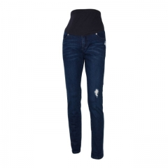 Skinny Leg Denim Jeans for Maternity Navy Blue 14