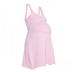 Pink Strapped Maternity / Nursing Nightdress Pink 10