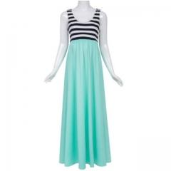 Women's Striped Sleeveless Maxi Tank Dress Large Aquamarine
