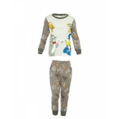Grey Long Sleeved Boys Pajama Set - Cat & Mouse print Grey Cat&Mouse print 10yrs boy