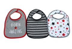3 Pack Washable Cotton Bibs grey one size