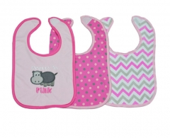 3 Pack Washable Cotton Bibs pink one size