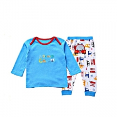 Cotton Baby Long Sleeved Top and Pants Set white/blue 18months