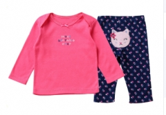 Cotton Baby Long Sleeved Top and Pants Set Pink/Black 3 months