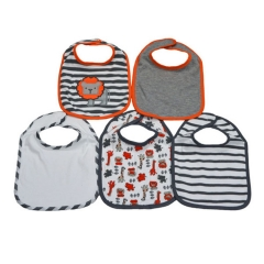5 Pack Washable Cotton Bibs orange-grey one size