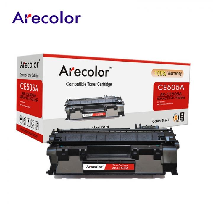 Arecolor 1 Piece Black Toner Cartridge AR-CE505A (05A)---For HP Printer--- black