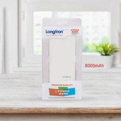 8000mAh Portable Power Bank with LED Flashlight, Dual USB Output Port (LPB-P987) white 8000