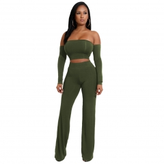 New six-color strap two-piece pants suit new Army Green M