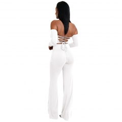 New six-color strap two-piece pants suit new wihte S