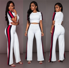 Women's fashion loose two-piece suit white L