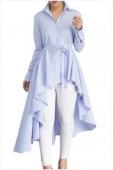 Women's striped suit collar long-sleeved irregular dress plus long women's T-shirt light blue s