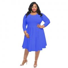 New autumn pure color large size women's dress xl colorful blue