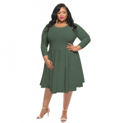 New autumn pure color large size women's dress xxl army green