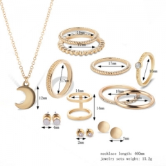 Fashion Joint Ring Necklace Earrings Set gold a set