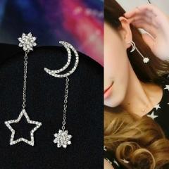 New Jewelry Diamond Full Rhinestone Long Tassel Star Pendant Moon Asymmetric Earrings silver a set