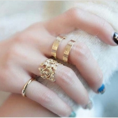 New Fashion Blade Three-piece Metal Joint Ring gold a set