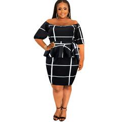 SW1piece/set one-piece collar style mid-sleeve evening dress xl black