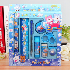 SW 9pair/set primary school stationery pencil ruler set blue