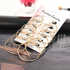 SW 6pcs/set rock exaggerated earrings 6 sets of earrings gold a set