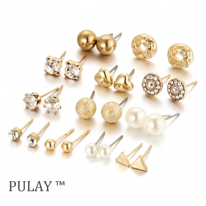 PULAY 12 Pairs of Earrings Set Zircon Crystal Heart Diamond Rhinestone Eardrop Jewelry Dangler Stud Golden 12 Pairs / Set