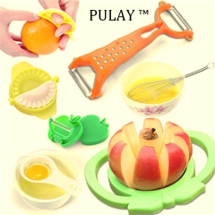 7pcs/set Cooking Kitchen Tools Multifunctional Fruit Slicer Cutter Peeler Vegetable Chopping Gadget Multi-color As Picture