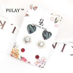 PULAY 3 Pairs of Latest Earrings Set Crystal Heart Diamond Rhinestone Eardrop Jewelry Dangler Stud As Pics 3 pairs / set