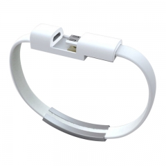 Micro USB 2.0 Data Sync Charger Cable Bracelet Wristband For Samsung & Other Android Phones white 21.5cm