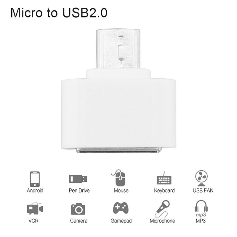 Mini OTG Cable USB OTG Adapter Micro USB to USB Converter for Tablet PC Android White one size 1