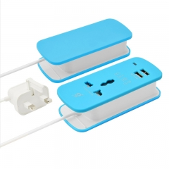 Universal Travel Power Socket Plug Adapter 2 USB ports Charger AC/DC USB Charger Adapter UK PLUG Blue One size